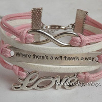 "Leather Bracelet-"" where there's a will there's a way"" bracelet,infinity bracelet,LOVE bracelet-pink&white wax rope leather braided bracelet"