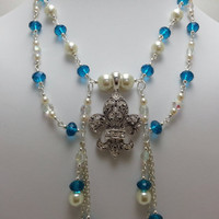 Teal Blue Swarovski Crystal and Cream Glass Pearl Beaded Fleur de lis Pendant Necklace - Double Strand