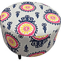 One Kings Lane - Sleeping Beauty - Michelle Round Ottoman, White/Blue