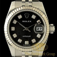 Excellent 18K White Gold & S.S. Rolex Diamond Datejust Ladies Watch Ref. 179174