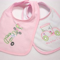 Two Baby Bibs Pink Green White Golf Clubs Cart Embroidered Cute Gift