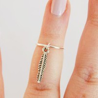 Sterling Silver Above Knuckle Ring with Feather Charm from Black Tied