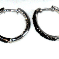 .50ctw Diamond Round Black and White Inside Outside Hoop Earrings   68 diamonds