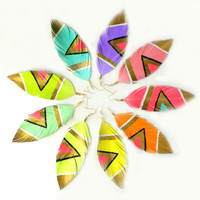Neon Aztec Pastel Faux Leather Feather Earrings