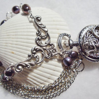 Mermaid pocket watch pendant, pendant in silver with purple freshwater pearls