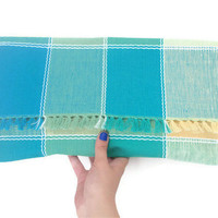 Oversized Clutch - Upcycled Blue Green Yellow Plaid
