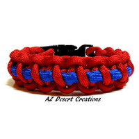 Survival Paracord Thin Line Bracelet Red and Blue Handmade