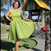 Harley Dress in Olive Sateen | Pinup Girl Clothing