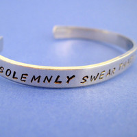 Harry Potter  Inspired Bracelet - I Solemnly Swear I Am Up To No Good - Hand Stamped Aluminum Cuff - customizable