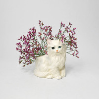 Vintage White Kitten Planter Persian Cat
