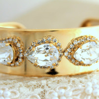 Gold Rhinestone cuff bracelet swarovski Crystal - 14k Gold Plated cuff bracelet