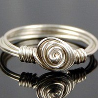 Dainty Sterling Silver Swirl Wire Wrapped Ring | Twist21 - Jewelry on ArtFire