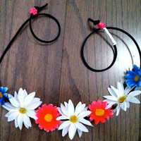 Multi EDC Daisy Flower Headband, Flower Crown, Flower Halo, Festival Wear, Ezoo, Coachella, Rave, Beach, Hippie Headband