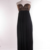 Stud Muffin Maxi Dress - Black + Gold -  $65.00 | Daily Chic Dresses | International Shipping