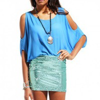 Final Sale - Distressed Sequin Miniskirt in Mint