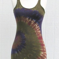 Tie Dye Racerback Tank Dress in Brown Moss and by inspiringcolor