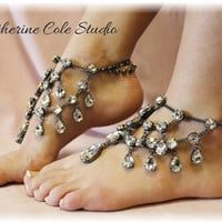 Crystal Barefoot sandals 1 pr.New look to make any pair of Heels extra special, weddings,bridal, prom, parties, special occasions  SJ5