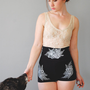 Sabina - Black Ultra High Waisted Jersey Shorts - By Bark Decor - Floral Red Boho Pinup Jersey Spandex Shorts