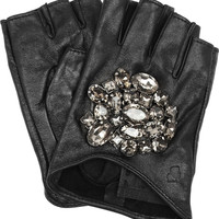 Karl Lagerfeld | Attens crystal-embellished leather gloves | NET-A-PORTER.COM