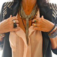 Studded Leatherette Moto Vest