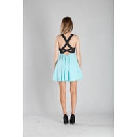 Baby Blue Colorblock Plunge Dress