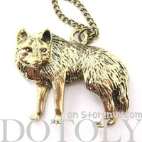 Cute Wolf Fox Animal Pendant Long Necklace in Bronze
