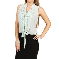Mint Ruffle Tie Front Top