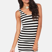Glad We Met Black and Ivory Striped Dress