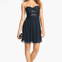 Max & Cleo Strapless Mesh Fit & Flare Dress | Nordstrom