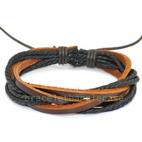 Brown leather cuff bracelet with leather and cotton ropes woven wrist bracelet women cuff bracelet charm bracelet friendship bracelet d-349