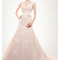 [236.99] Elaborate Full Lace & Tulle & Satin Princess Tank V-neck Natural Waist Beaded Wedding Gown - Dressilyme.com
