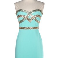 Strapless Sequin Aqua Dress