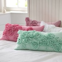 Ruffle & Rose Lumbar Pillow Cover | PBteen