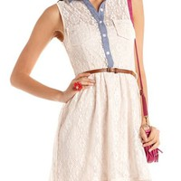 Chambray Trim Sheer Lace Dress: Charlotte Russe