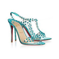 [59.24] Leather Stiletto Heel Peep Toe With Rivet Sandals Casual Shoes Sky Blue - Dressilyme.com