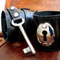 Love Cuffs Black Leather Cuff Set with Vintage by urbanheirlooms