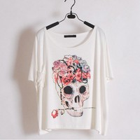 Roses and Skull T-Shirt for Women