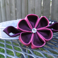 Dog Collar and Flower - READY TO SHIP Plum and dark Pink  Kanzashi Flower on White Dog Collar - Pink Wedding Collar