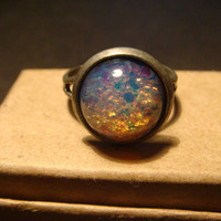 Antique Silver Fire Opal Ring - Adjustable( 759)