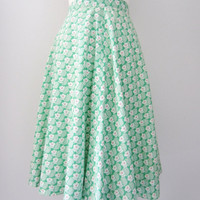 60s Floral Flared Green Summer Skirt, S / W25 / W64 // Vintage A-line Hippie Skirt