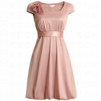 Bqueen Round Neck Waist Ball Gown Dress Pink FK012F - Celebrity Dresses - Apparel