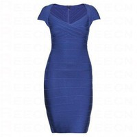 Bqueen Cap-Sleeve Bandage Dress Blue H305L - Celebrity Dresses - Apparel