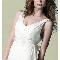 [209.99] Modern Chiffon & Satin Sheath V-neck Natural Waist Tank Straps Beaded Destination Wedding Dress - Dressilyme.com