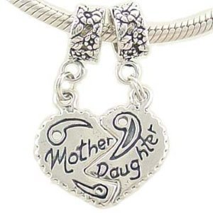 Mother Daughter Bead Charms Compatible with European Bracelet: Home & Kitchen