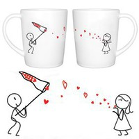 "BoldLoft ""Catch My Love"" Couple Coffee Mug Set-Romantic Valentines Gifts for Couples,Cute Valentines Day Gift Ideas,Good Couple Gifts for Valentines,Romantic Anniversary Gifts: Kitchen & Dining"