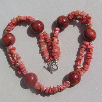 "Red Sponge Coral & Salmon Bamboo Coral Gemstone Statement Necklace - ""Tiger Lily"""