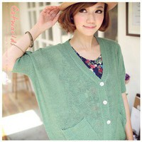 Sweet Candy Color Single Breasted Knitting Cardigan Green