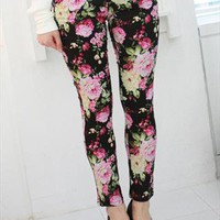 New floral print leggings jeans jeggings - black from zamong-boutique