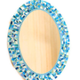 Blue and Aqua Oval Mosaic Mirror