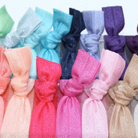 Elastic Hair Tie Bracelets (26) One of Each Color - Knotted Yoga Hair Ties - Emi Jay Style Cloth Hair Bands - Women&#x27;s Hair Accessories